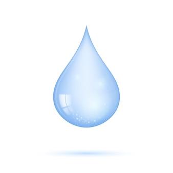 Realistyczna przezroczysta niebieska błyszcząca kropla wody na białym tle