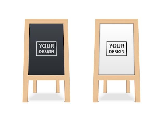 Realistyczna pusta biała i czarna drewniana deska, reklama zewnętrzna makieta na białym tle.