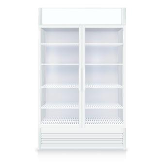 Realistyczna pusta zamrażarka z przezroczystymi drzwiami i półkami w białych kolorach