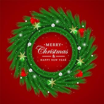 Realistyczna rama koło wieniec bożonarodzeniowy z zielonym drzewem i czerwoną piłką