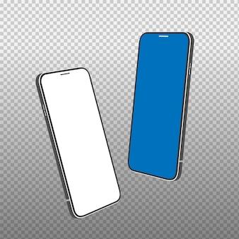 Realistyczna rama smartfona z pustym wyświetlaczem na białym tle.