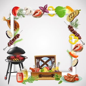 Realistyczna rama z grillem różnych potraw z grilla, warzyw i napojów na piknik
