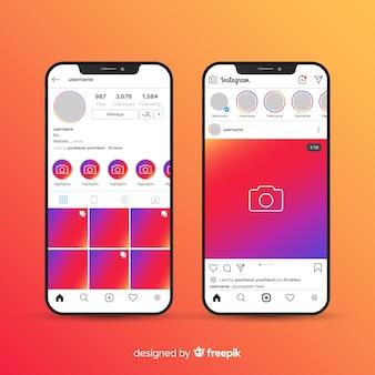 Realistyczna ramka na instagram kolekcji iphone