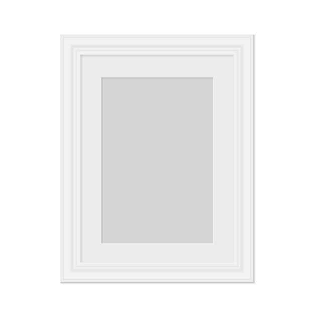 Realistyczna ramka na zdjęcia na białym tle wektor szablon dla obrazu pusta biała ramka na zdjęcia makieta