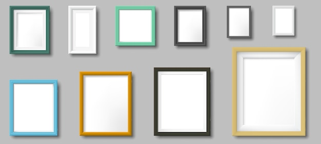 Realistyczna ramka na zdjęcia. ramki kwadratowe i prostokątne, zdjęcia na szablonie ściennym