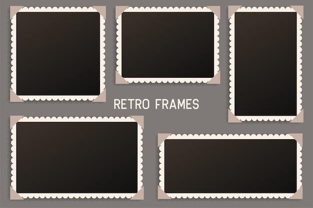 Realistyczna ramka na zdjęcia vintage z cieniem