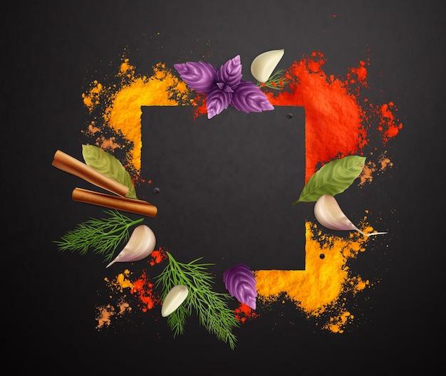 Realistyczna ramka przypraw i ziół ozdobiona bułką cynamonową, liście laurowe, bazylia i koper na czarnym tle