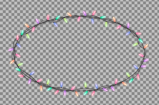 Realistyczna ramka świątecznych świateł