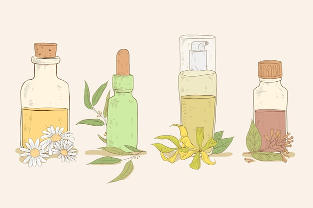Realistyczna ręcznie rysowane kolekcja butelek olejku eterycznego