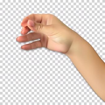 Realistyczna ręka mężczyzny posiada przypuszczalny szklankę napoju alkoholowego na przezroczyste.