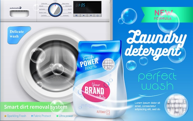 Realistyczna reklama detergentów do prania