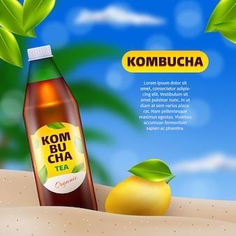 Realistyczna reklama herbaty kombucha
