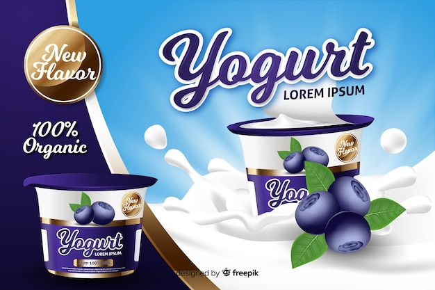 Realistyczna reklama jogurtowa