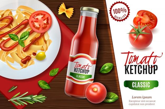 Realistyczna reklama keczupu pomidorowego z widokiem na drewniany stół i talerz makaronu z tekstem