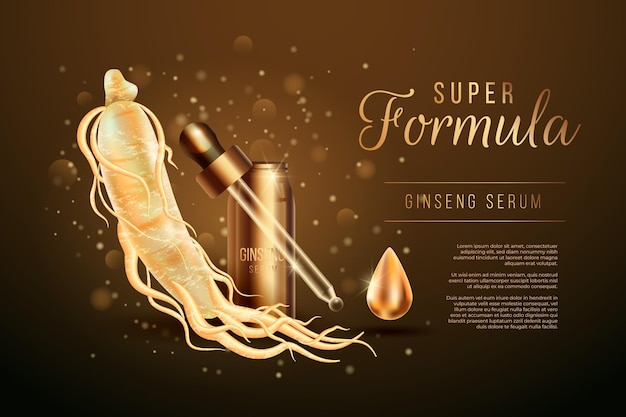 Realistyczna reklama korzenia żeń-szenia ze złotymi cząsteczkami