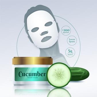 Realistyczna reklama maski arkusza ogórka