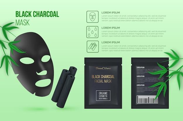 Realistyczna reklama maski arkusza węgla drzewnego