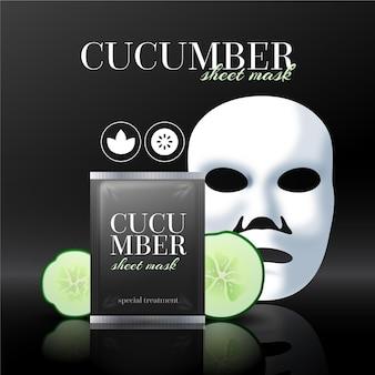 Realistyczna reklama maski ogórka w płachcie