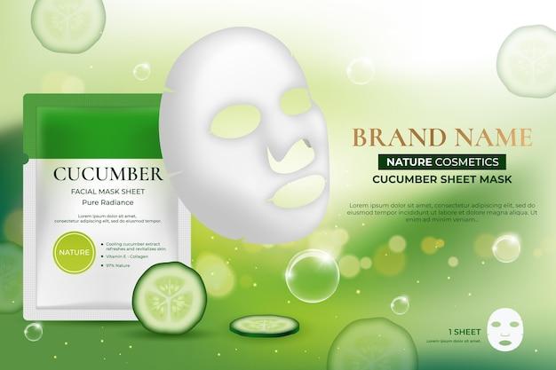 Realistyczna reklama maski w płachcie z węglem drzewnym