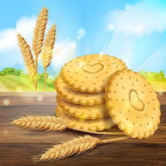Realistyczna reklama opakowań ciastek pszennych. 3d okrągłe ciastka