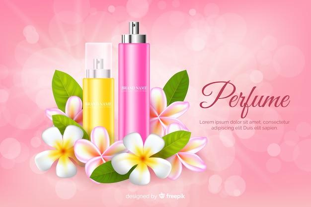 Realistyczna reklama perfum z kwiatami