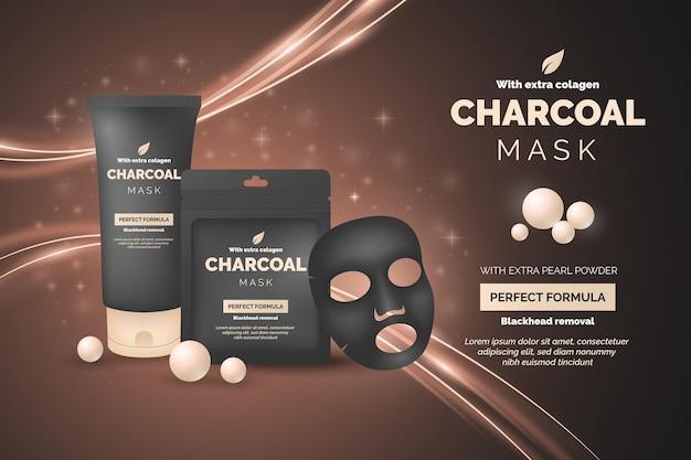 Realistyczna reklama produktu maski w płachcie z węgla drzewnego
