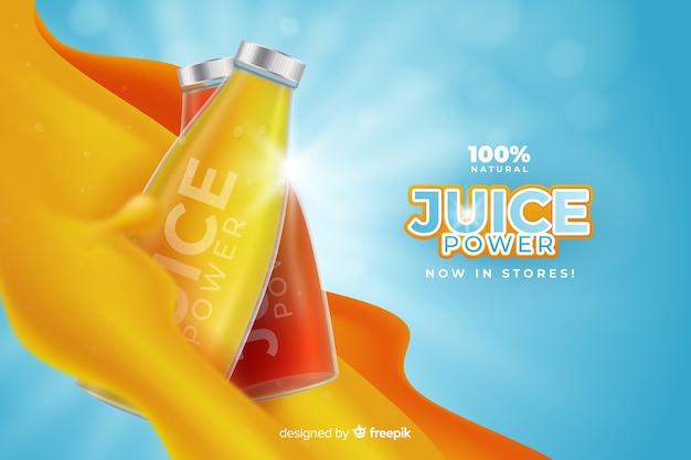 Realistyczna reklama soku pomarańczowego