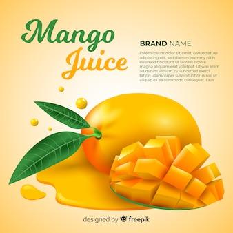 Realistyczna reklama soku z mango