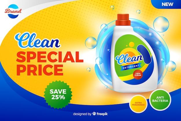 Realistyczna reklama sprzedaży detergentu do prania