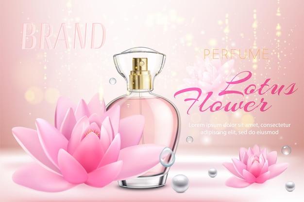 Realistyczna reklama z butelką kobiecych perfum kwiatowych i różowych kwiatów lotosu