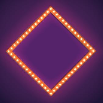 Realistyczna retro żarówka w kwadracie. świecące kino szyld z żarówką z pustym miejscem na tekst. ramka wolumetryczna 3d dla twojego szablonu, reklama, promocje, tekst. wektor