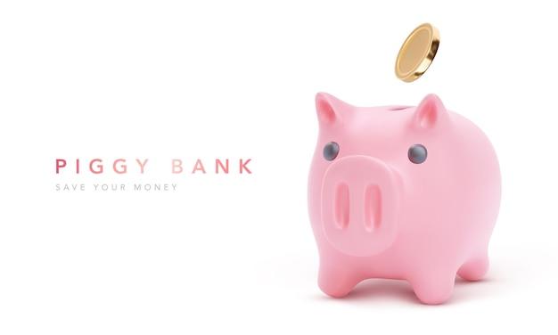 Realistyczna różowa świnia skarbonka na białym tle z monetami, oszczędnościami finansowymi i gospodarką bankową, długoterminową inwestycją depozytową.