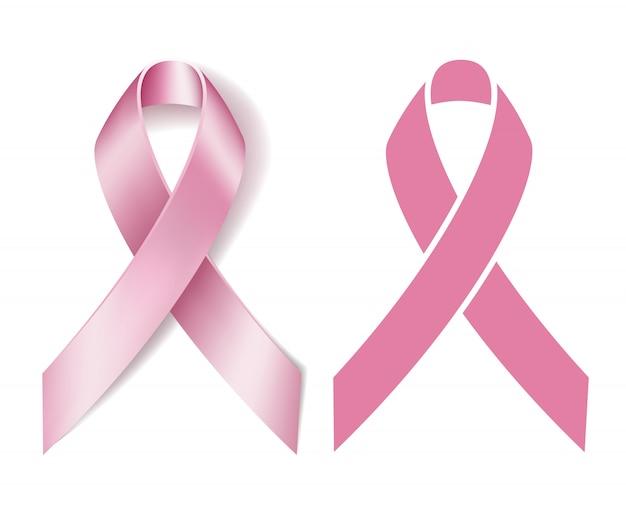 Realistyczna różowa wstążka na białym tle. symbol świadomości raka piersi. .