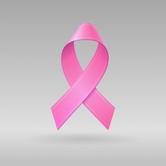 Realistyczna różowa wstążka na jasnoszarym tle. symbol świadomości raka piersi w październiku. szablon banera, plakatu, zaproszenia, ulotki. ilustracja.