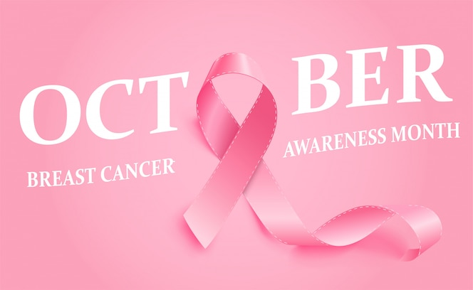 Realistyczna różowa wstążka świadomości raka piersi