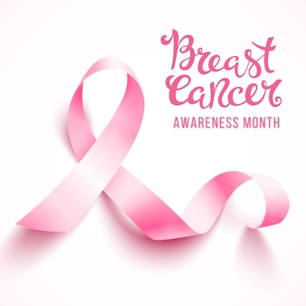 Realistyczna różowa wstążka, symbol świadomości raka piersi, na białym tle. .