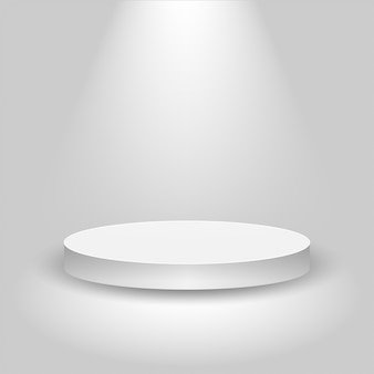 Realistyczna scena konkursowa, puste białe podium, miejsce na lokowanie produktu do prezentacji, podium zwycięzcy lub scena na szarym tle,