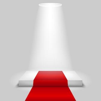 Realistyczna scena konkursu z czerwonym dywanem i światłem reflektorów,