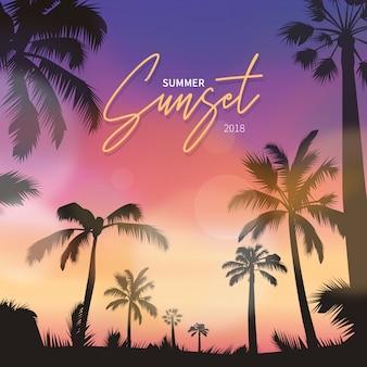Realistyczna scena zachód słońca