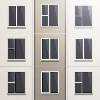 Realistyczna ściana wielokondygnacyjnego budynku z paneli.