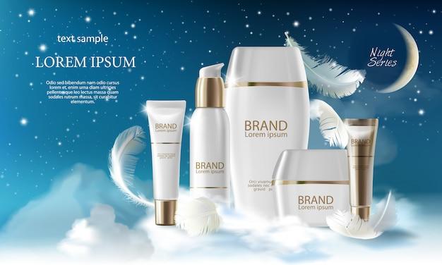 Realistyczna seria dużych serii nocnych pielęgnacji skóry. słoik, spray, tuba, pojemnik z kremem kosmetycznym