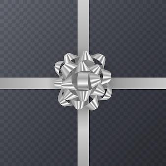 Realistyczna srebrna wstążka prezentowa