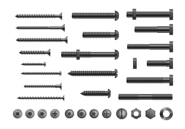 Realistyczna śruba, śruba i nakrętka
