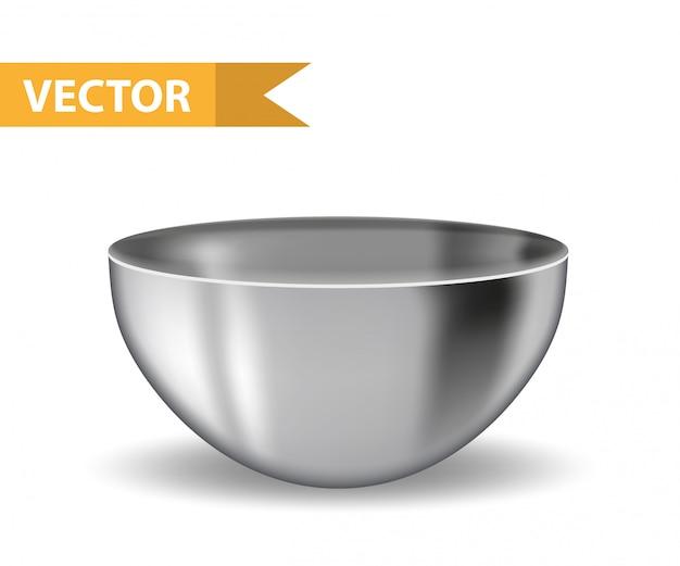 Realistyczna stalowa misa. żelazny talerz głęboki. przybory do kuchni komercyjnych i domowych. na białym tle. ilustracja.