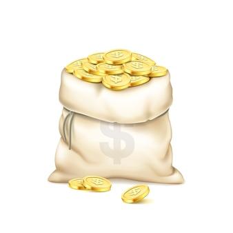 Realistyczna stara torba z kupą złotych monet na białym tle. kupie złote monety. torba ze znakiem dolara. koncepcja nagrody pieniężnej. temat kumulacji bogactwa i pieniędzy. ilustracja 3d.