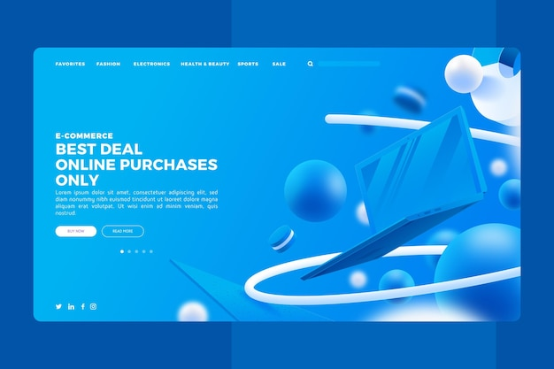 Realistyczna strona docelowa zakupów online