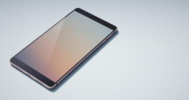 Realistyczna stylowa koncepcja telefonu komórkowego z błyszczącym, pustym cieniem na wyświetlaczu i przyciskami na jasnoniebieskim tle