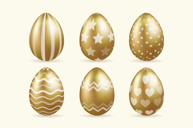 Realistyczna stylowa wielkanocna kolekcja złotych jaj