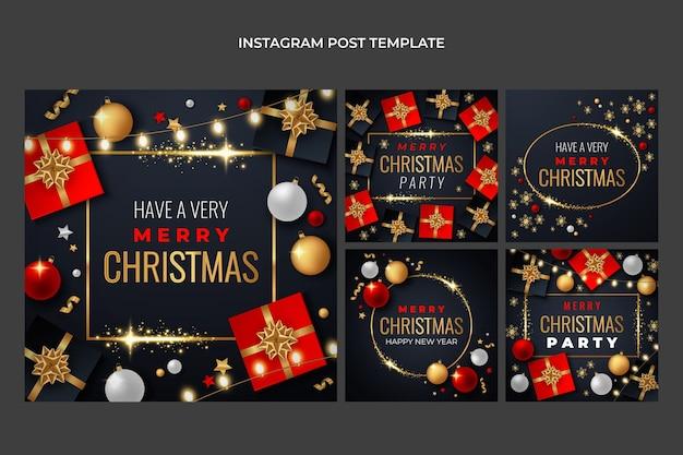 Realistyczna świąteczna kolekcja postów na instagramie