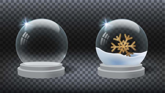 Realistyczna świąteczna kula śnieżna z płatkiem śniegu na przezroczystym tle z cieniami i światłami.